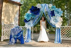 Wedding Set Up, Diy Wedding, Wedding Ceremony, Wedding Ideas, Blue Wedding Decorations, Wedding Colors, Wedding Pergola, Grecian Wedding, Tiffany's Bridal