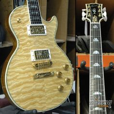 Like they say, it's all about the details...Gibson Les Paul Ultima Quilt in Natural with engraved hardware.