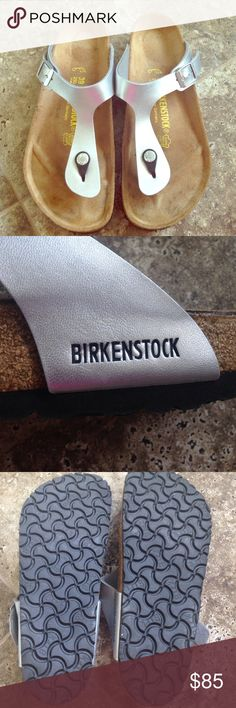 Silver Birkenstock Beautiful and sooo comfortable! Leather. Silver color! Goes with any outfit 💁🏻💁🏻 worn once! 🌻🌻 perfect for summer days 🌸 Birkenstock Shoes Sandals