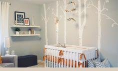Quarto de bebê com enxoval laranja e cinza | Quarto de bebê - Decoração, bebês, gravidez e festa infantil