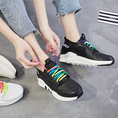 Spring Women Causal Shoes Sport Breathable Trainers Size 35-40 Rainbow Flat With Ladies Shoes Lace Up Outdoor Walking Shoes
