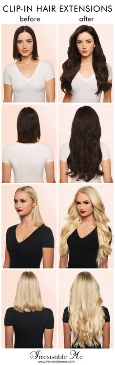 Make a dramatic hairstyle change with Irresistible Me 100% human Remy clip-in hair extensions. You can add length and volume in a matter of minutes and you get to choose the color, length and weigh. Can be cut, colored and heat styled. Free returns and exchanges, worldwide delivery. They work for really short hair too and properly blended they are undetectable! Click to get 20% off on your first order!