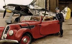 """Josef """"Pips"""" Priller and his 2 BMW powered machines..  A Focke Wulf 190.. and BMW 327/55  (interesting.. I've seen this photo many times.. never seen it colorized.  Whoever did it..  did it well.)"""