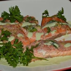 Poached Salmon II Recipe.  Gotta try this since I have some salmon in my freezer.