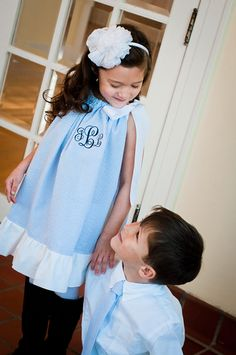 Personalized Ruffle Pillowcase Dress Seersucker Gingham Monogram Easter Girl Baby Toddler. $35.00, via Etsy.