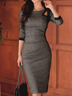 Tie Collar Plain Bodycon Dress - Look Fashion Office Dresses, Casual Dresses, Fashion Dresses, Dresses For Work, Midi Dresses, Sexy Dresses, Party Dresses, Ladies Dresses, Summer Dresses