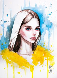 Girl in a hat by BlackFurya on DeviantArt Colorful Drawings, Art Painting, Sketches, Art Inspo, Paintings Famous, Drawings, Painting, Art, Watercolor Artwork