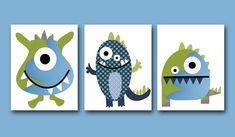 Navy and green monster nursery art inspiration - Childrens Art Kids Wall Art Baby Boy Room Baby Boy by artbynataera on etsy