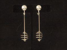 Fashion Modern Silvertone Dangle Clip On/Non Pierced Earrings 2.5 in #6852 by WhimzRecycledJewelry on Etsy