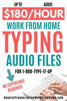 Transcription jobs for beginners. Make up to $180 per audio hour typing audio files. 800-type-it-up is one of the best paying transcription companies for beginners 1-. #typingjobs #dataentryjobs #transcription #transcriptionjobs #noexperience #remotejobs #onlinejobs #workfromhome #workathomejobs #makemoneyfromhome #makemoneyonline Work From Home Typing, Work From Home Moms, Make Money From Home, Make Money Online, Online Side Jobs, Best Online Jobs, Online Work, Transcription Jobs From Home, Transcription Jobs For Beginners