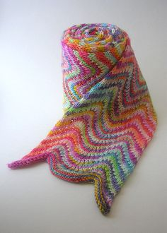 Knitting pretty with yarn dyed with Easter egg dyes.