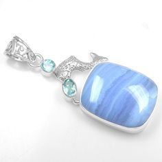 9.19 Gm 925 Sterling silver Natural Blue Lace Agate Blue Topaz Pendant Jewelry $ #Unbranded