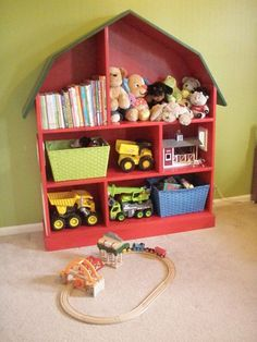 DIY barn bookshelf. love this for kids room!! How cute to store tractors and farm animals!
