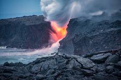 Lava  - Lava entering the ocean in Kalapana Hawaii