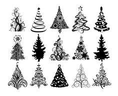 Christmas Tree Silhouette Clip Art | Christmas Trees 1600.1302