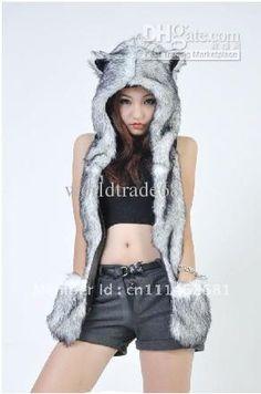 Wholesale Hats, Scarves & Gloves Sets - Buy New Fashion Faux Fur Animal Hood Spirit Hat Animal Hats Beanie Cap White Husky Hat Animal Hoodie, $27.17   DHgate