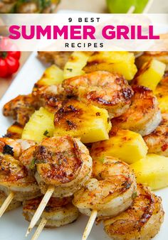 Fun and easy grill recipes to impress your guests.  2. Grilled Jerk Shrimp and Pineapple Skewers