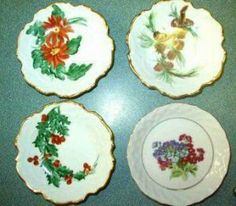 1920s china dishes | Four Antique Butter Pat or Salt Dishes ~1920s Handpainted