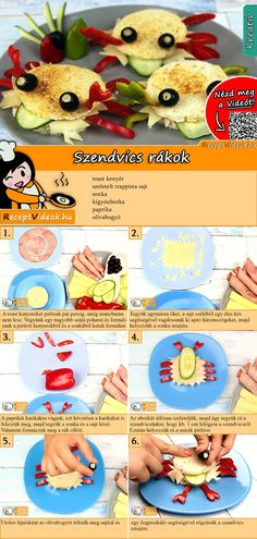 Cancer sandwich recipe with video - breakfast recipes / recipe ideas - Make the little ones a crab sandwich for breakfast and they will bite heartily! You can easily find - Crab Sandwich, Veggie Sandwich, Sandwich Recipes, Subway Sandwich, Cucumber Sandwiches, Sandwiches For Lunch, Turkey Sandwiches, Breakfast For Kids, Healthy Eating