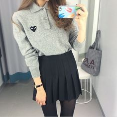 ★ ★ ★ ★ four stars (black tennis skirt, black pantyhose, grey long sleeve polo pullover with romwe patch, black watch)