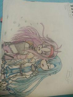Asuna and Yuuki By:Brookie_Chan Drawings, Asuna, Art, Anime, Humanoid Sketch, Anime Drawings