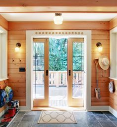 You may want to experience an ultimate exterior unique design with exterior pocket doors. Pocket doors will help us in regulating the access in a breathtaking manner to the indoor or outdoor. When the pocket door is fully open, the panels will slide Knotty Pine Decor, Knotty Pine Paneling, Knotty Pine Walls, Glass Pocket Doors, Sliding Pocket Doors, Glass Doors, Plywood Furniture, Kid Furniture, Rustic Entry