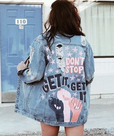 get it, girl // denim jacket // hand painted // SHOPRIFFRAFF - Painting on jeans - Girls Denim Jacket, Painted Denim Jacket, Denim Paint, Jacket Jeans, Denim Jacket With Patches, Painted Jeans, Blue Jean Jacket, Denim Shorts, Custom Clothes