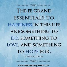 Happiness quotes three grand essentials to happiness in this life are something to do something to love and something to hope for. joseph ad...