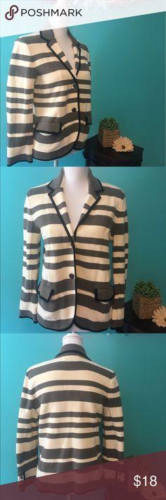 LOFT striped blazer EUC LOFT stretchable Cotton striped blazer. Taupe and cream, black trim. Size large but fits like a medium. Great condition LOFT Jackets & Coats Blazers