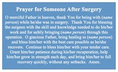 20 short but effective prayers for surgery - NurseBuffDo you need a prayer for surgery? Even when nurses care for hundreds of patients and see them being rolled into the operating room, we can never Catholic Prayer For Healing, Prayer For Guidance, Prayer Of Thanks, Say A Prayer, Prayers For Healing, Bible Prayers, Catholic Prayers, Power Of Prayer, Powerful Prayers