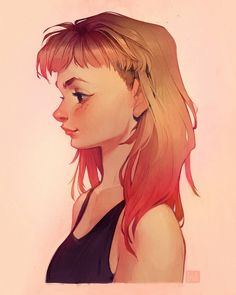 I colored in my pencil sketch from a few weeks ago ~ I wish I could dye my hair pink without having to bleach it! That's never gonna happen, so I'll just draw it instead haha 🍓 Have an amazing weekend everyone! Illustration Girl, Character Illustration, Loish, Portrait Cartoon, Drawing Sketches, Drawings, Drawn Art, Dye My Hair, How To Draw Hair