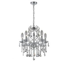 A Decorative Modern Clic Design 5 Light Bathroom Chandelier In Polished Chrome With Clear Gl Droplet Dressings The Is Ip44 Rated For Safe Use