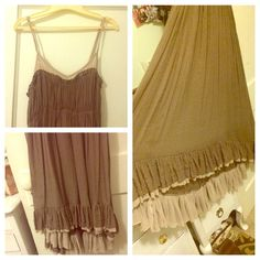 Beachy Maxi dress ✅Offers!! 😄Cannot even begin to explain how comfy and soft this is! It's an empire cut flowy style dress. Can be very formal with the right shoes and jewelry- or totally hipped out! Creamy tan color accent at top- the rest of the dress is flowy and silky soft. The bottom has Ruffles and longer in the back by a couple inches. The strap broke when I wore it-sewed it back but it's not very adjustable anymore but fits a medium bust excellently! Has a slip built in. Rye Dresses
