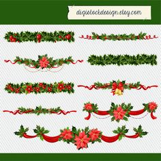 Christmas Clipart. Christmas Wreath Clipart. by digistockdesign