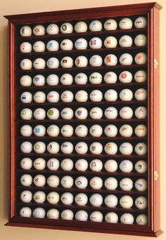 108 Golf Ball Display Case Pga Cabinet Rack Wall Holder