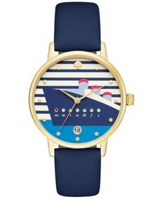 be2fd404914 kate spade new york Women s Metro Navy Blue Leather Strap Watch 34mm  KSW1138 - Gold Nautical