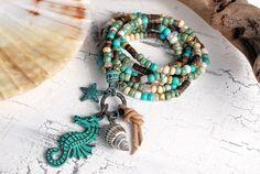 Charm- & Bettelketten - trendige Kette ♥ Seahorse Patina ♥ Seed Beads - ein Designerstück von Lunas-SchmuckART bei DaWanda