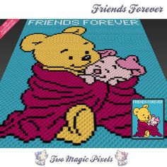 Friends Forever is a graph pattern that can be used to crochet a blanket using C2C (Corner to Corner), TSS (Tunisian Simple Stitch) and other techniques. Alternatively, you can use this graph for knitting, cross stitching and other crafts. This graph design is 80 squares wide by 100 squares high. It requires 6 colors for the characters and 1 for the background. Pattern PDF includes: - color illustration for reference - color square pattern Image only, no written counts. This listing is...