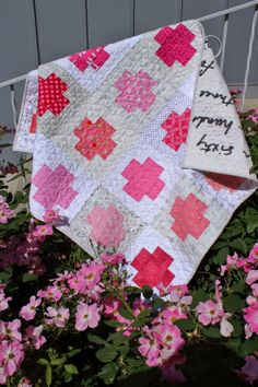 Pink Cross Quilt--basically a nine-patch.