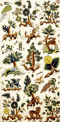 Fantastical Creatures and Plants, by Abigail Pett. Crewel wool on linen and cotton. England, c.1680-1700.