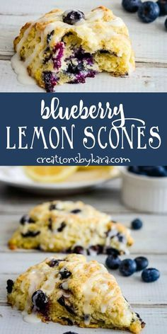 Blueberry Lemon Scones - tender lemon scones bursting with blueberries and topped with lemon glaze. A tasty scone recipe perfect for breakfast or brunch! Lemon Dessert Recipes, Lemon Recipes, Brunch Recipes, Easy Desserts, Baking Recipes, Scone Recipes, Blueberry Lemon Scones, Blueberry Recipes, Recipes With Blueberries