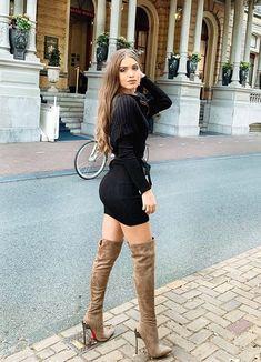 Thigh High Boots Heels, Heeled Boots, Leather Boots, Leather Skirt, Sexy Boots, Over The Knee Boots, Thighs, Like4like, Shirt Dress