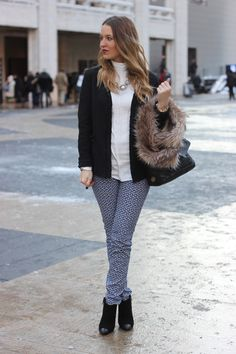 Pair neutrals or solids with patterned pants to make it look pulled together and crisp