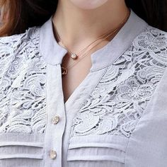 Curved Lace Panel Button Up Grey Shirt Trendy Tops For Women, Blouses For Women, Indian Men Fashion, Denim And Lace, Long Sleeve Turtleneck, Grey Shirt, Blouse Styles, Buy Cheap, Lace Button