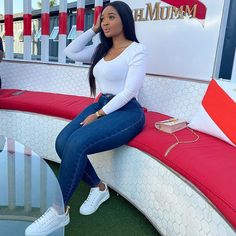 Trendy Outfits, Summer Outfits, Girl Outfits, Fashion Outfits, Fashion Couple, Black Girl Fashion, Cute Ripped Jeans, Plus Size Shirt Dress, Smart Casual Outfit
