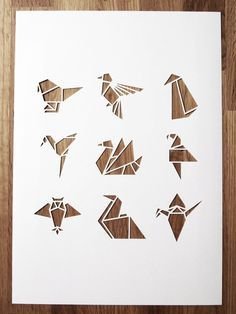 These are paper cuts (kirigami), but if I wanted to get an origami style tattoo, I would use these as a guide . Origami And Kirigami, Origami Paper Art, Diy Paper, Paper Crafts, Origami Birds, Origami Logo, Paper Wall Art, Paper Folding, Paper Cutting