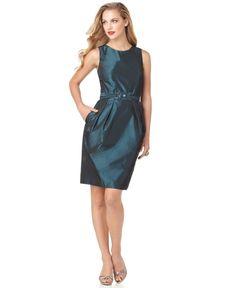 Alex Evenings Green Taffeta Sleeveless Pleated Belted Cocktail Dress. Visit Page - http://www.ebay.com/itm/-/121714615662?roken=cUgayN