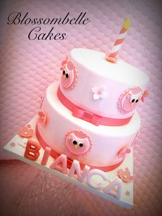 First birthday cake little girl owl theme by Blossombelle Cakes facebook.com/blossombellecakes