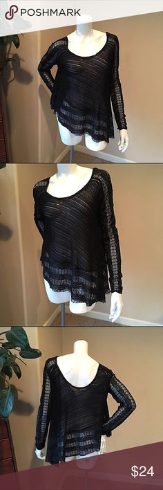 "Free People carousel up and down top S black Free People S carousel up and down top black asymmetrical lace blouse. Lovely top, pair with skinny jeans and boots. Perfect for layering. Measurements bust 20"", length 29"" at longest point, sleeve 27"".92% nylon 8% spandex Free People Tops Blouses"