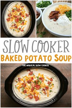 Slow Cooker Baked Potato Soup is an ultra-creamy soup that is topped with sour cream, bacon, green onions and cheese! - The Magical Slow Cooker